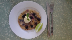 Almond Meal pancakes with Blueberries, Lime and Double Cream